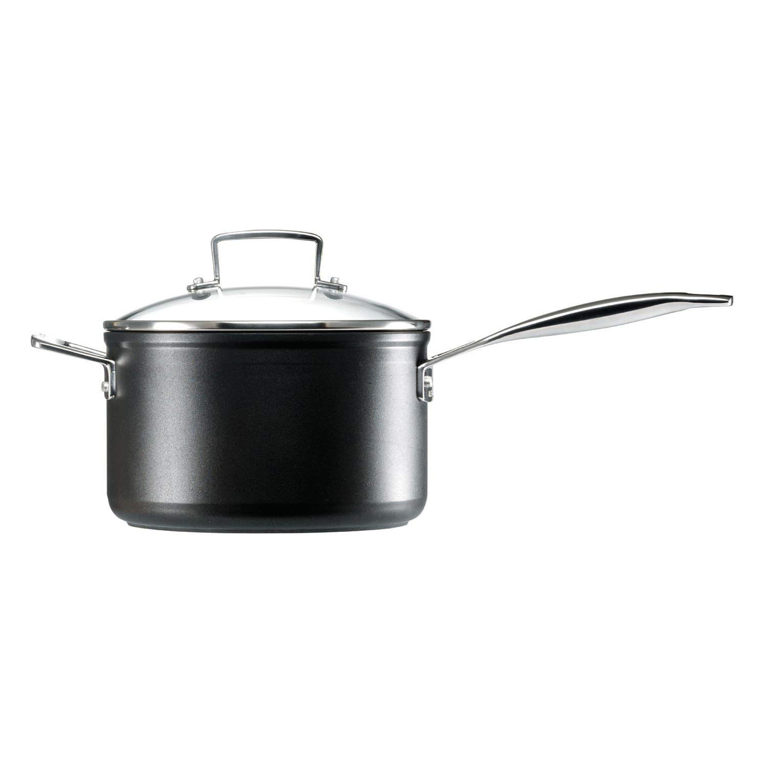 le creuset toughened non stick 3 saucepan set in black. Black Bedroom Furniture Sets. Home Design Ideas