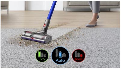 Cleaning modes on Dyson V11 Vacuum Cleaner from FreeNET Electrical UK